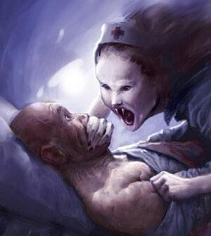 Criatura assustadora tapando boca de homem deitado