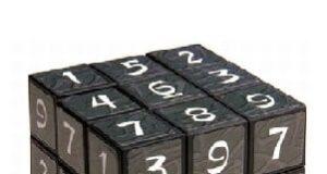 Cubo mágico contendo nove números em cada uma de suas faces